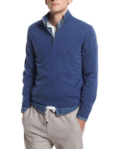 Cashmere Half-Zip Sweater, Fog