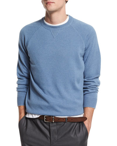 Solomeo Fine Gauge Cashmere-Blend Crewneck Sweatshirt, Sky Blue/Fog