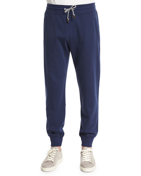 Drawstring Knit Spa Sweatpants, Navy