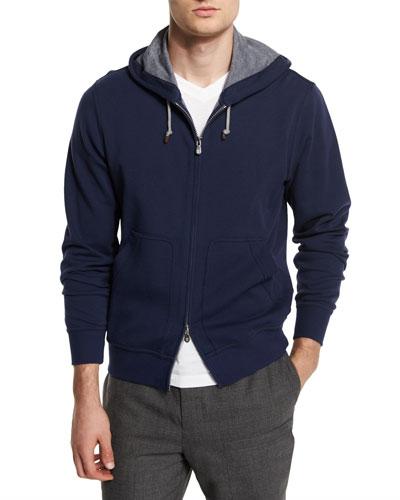 Full-Zip Knit Spa Hoodie, Ocean/Ardesia