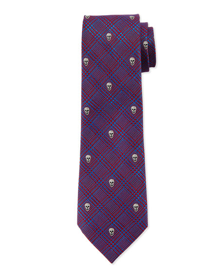 Prince of Wales Skull-Print Silk Tie