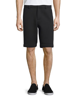Neoprene Flat-Front Shorts with Track Stripe, Black/Silver