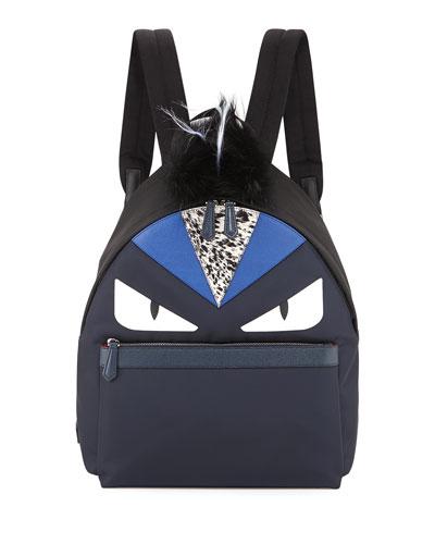 Monster Nylon Backpack with Fur Crest, Blue/White