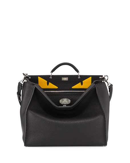 Fendi Men's Monster Eyes Peekaboo Bag, Black/Yellow