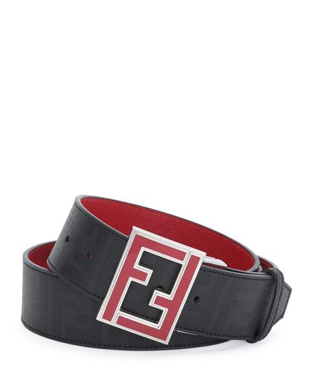 Fendi Reversible Zucca-Print Enamel-Buckle Belt