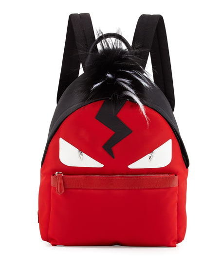 a5976619b1f Fendi Monster Nylon Backpack with Fur Crest, Red