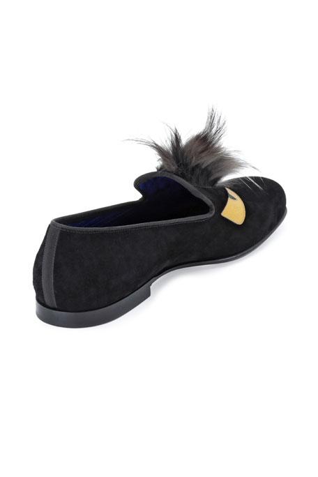 Monster Fur Evening Slipper, Black