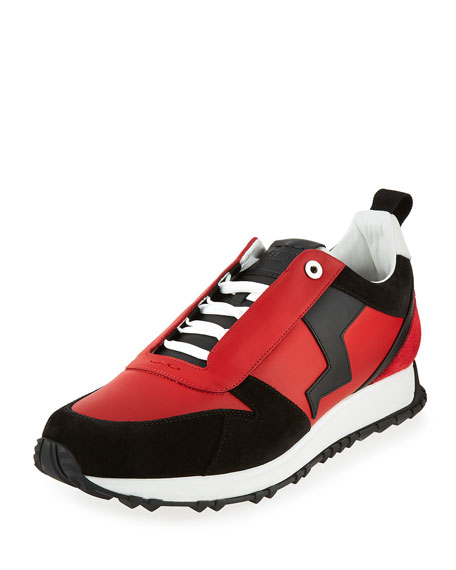 Fendi Men's Suede-Paneled Leather Trainer, Red