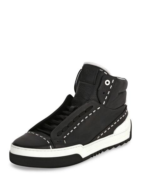 Fendi Metal-Stud Leather High-Top Sneaker, Black