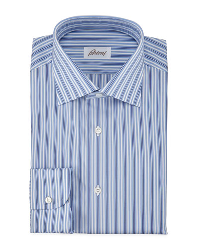Alternating-Stripe Dress Shirt, Blue
