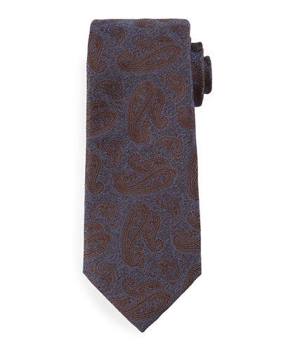 Tonal Paisley-Print Silk Tie, Blue/Brown