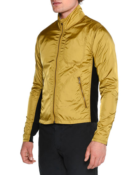 Lightweight Nylon Full-Zip Jacket, Brass