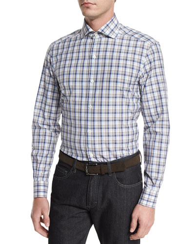 Plaid Long-Sleeve Sport Shirt, Beige