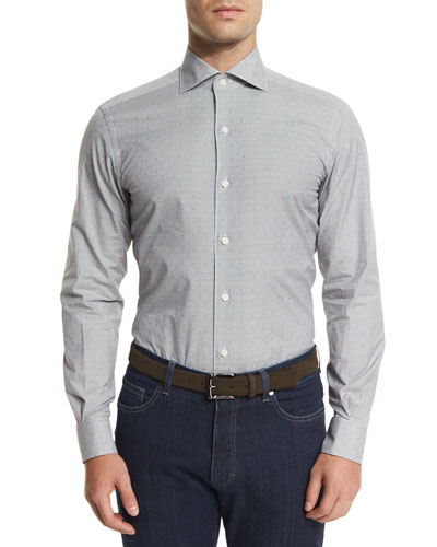 Micro-Check Long-Sleeve Sport Shirt, Dark Gray