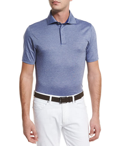 Stretch-Cotton Polo Shirt, Navy
