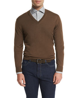 High-Performance V-Neck Sweater, Brown
