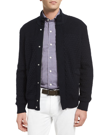 High-Performance Textured Cardigan, Navy
