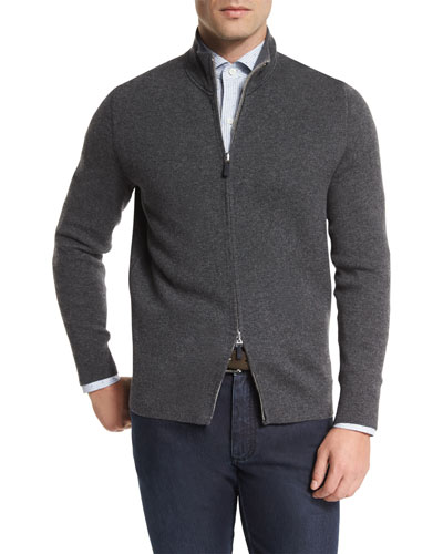 Reversible Full-Zip Jacket, Charcoal
