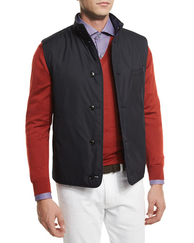 Reversible Wool-Blend Vest, Navy