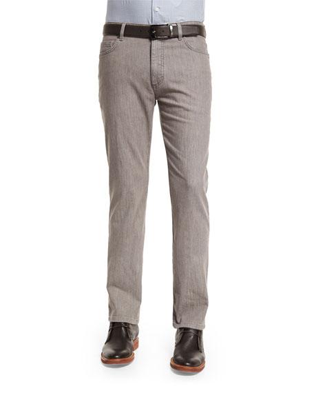 Five-Pocket Stretch-Cotton Denim Jeans, Khaki