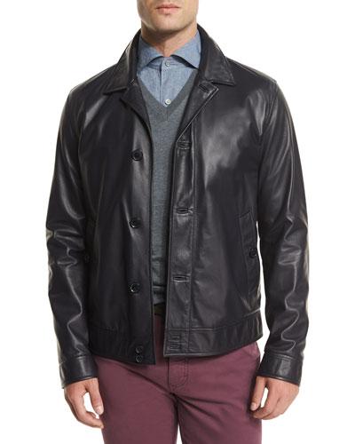 Napa Lambskin Leather Jacket, Midnight