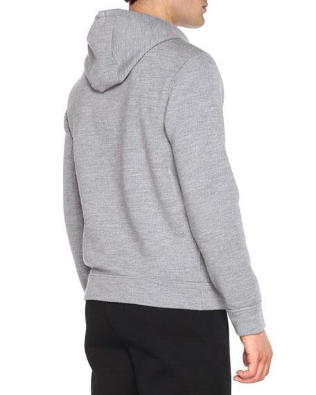 Shearling-Logo Pullover Hoodie, Dark Gray