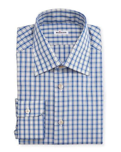 Box-Plaid Long-Sleeve Dress Shirt, Blue