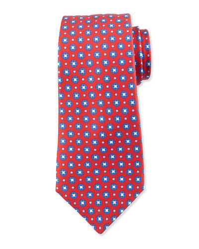 Neat Flower-Print Silk Tie