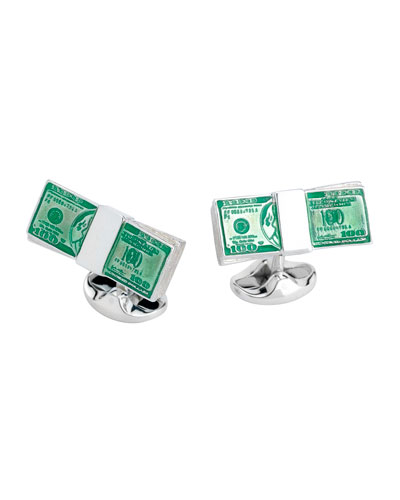Dollar Bill Sterling Silver Cuff Links