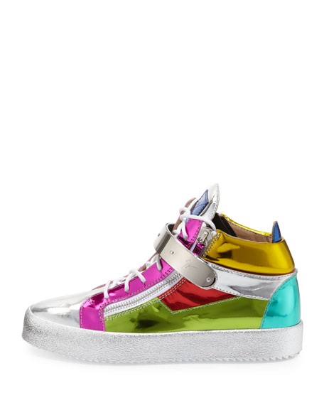 Multicolored Metallic Mid-Top Leather Sneaker, Multi