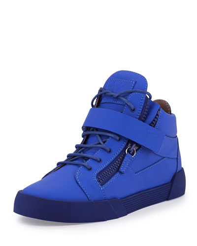 Men's Matte Leather Zip & Buckle Mid-Top Sneaker