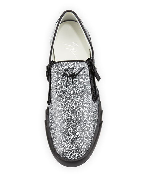 Men's Stingray-Embossed Leather Slip-On Sneakers, Black/White