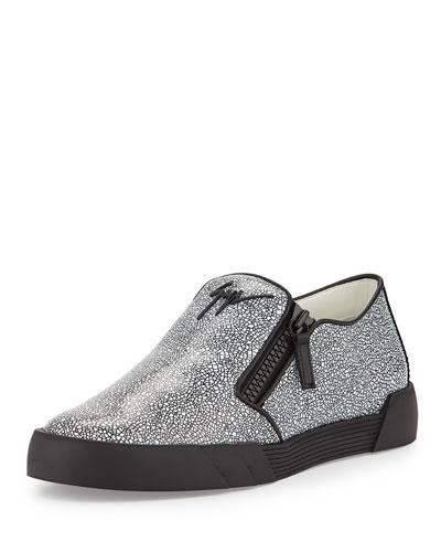 Stingray-Embossed Leather Slip-On Sneaker, Black/White