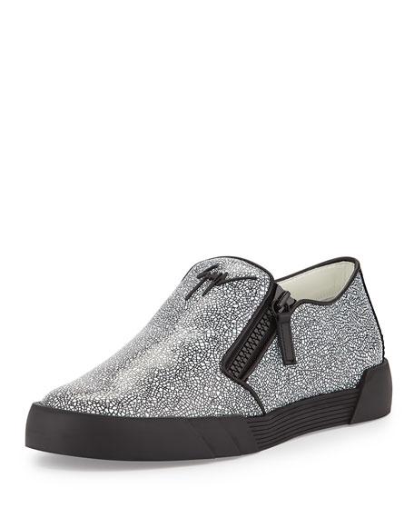 Men's Stingray-Embossed Leather Slip-On Sneakers, Black/White