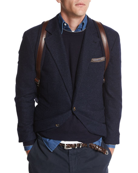 Twill Two-Button Sport Jacket, Navy