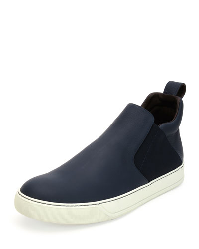 Leather Mid-Top Slip-On Sneaker, Navy