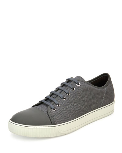 Textured Leather Low-Top Sneaker, Light Gray