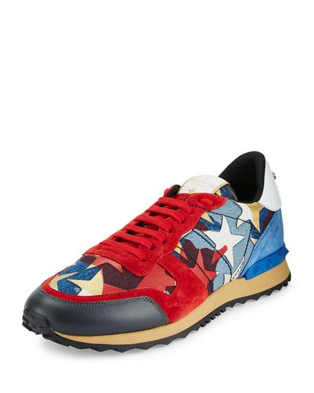 Valentino Rockrunner Camo & Star-Print Denim Sneaker, Blue/Red
