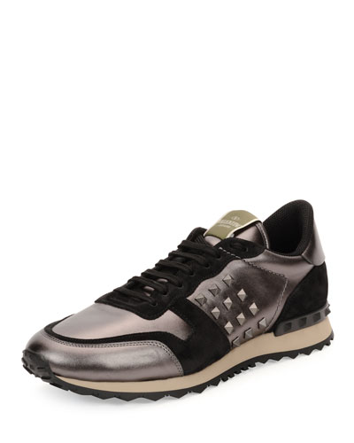 Rockrunner Metallic-Insert Leather Sneaker, Gunmetal