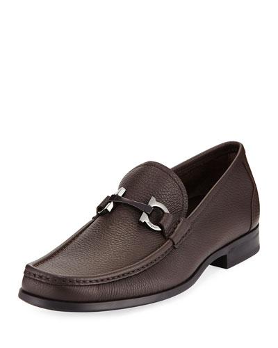 Grandioso Textured Calfskin Gancini Loafer, Dark Brown