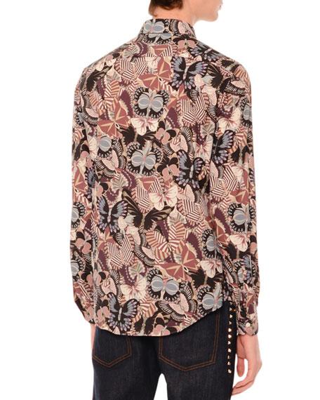 Camu Butterfly Long-Sleeve Sport Shirt, Navy/Pink Multi