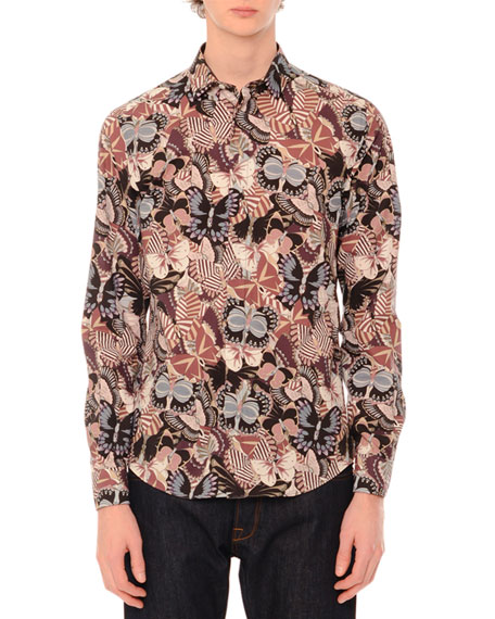 Valentino Camu Butterfly Long-Sleeve Sport Shirt, Navy/Pink Multi
