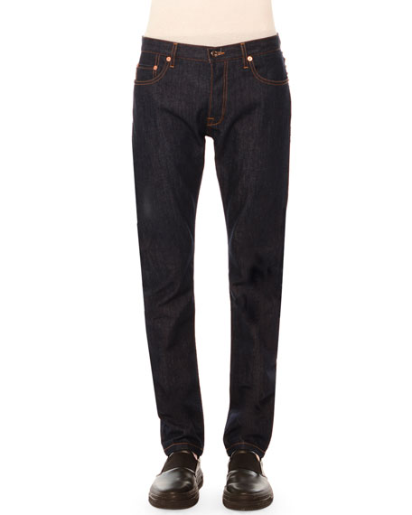 Five-Pocket Clean-Wash Denim Jeans with Rockstud Detail, Dark Blue