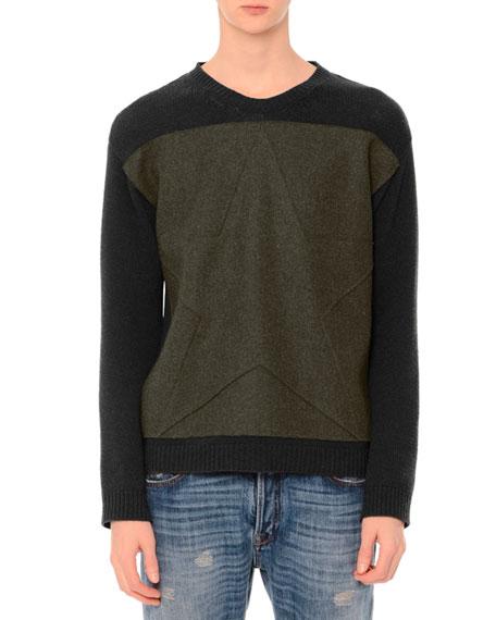 Tonal-Star Patch Colorblock Crewneck Sweater, Army