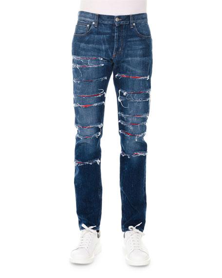 Alexander McQueen Straight-Leg Slashed Selvedge Denim Jeans, Blue
