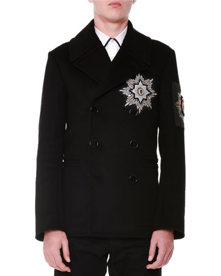 Beaded Medallion Double-Breasted Pea Coat, Black