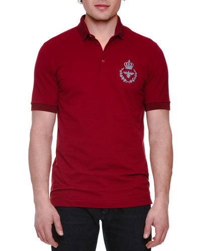 Embroidered-Logo Short-Sleeve Polo Shirt, Bordeaux