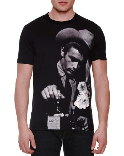 James Dean Photo-Print T-Shirt, Black/Gray