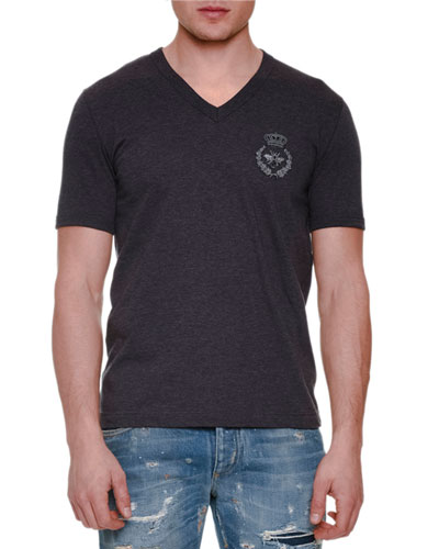 Crown & Bee Embroidered Short-Sleeve Tee, Gray