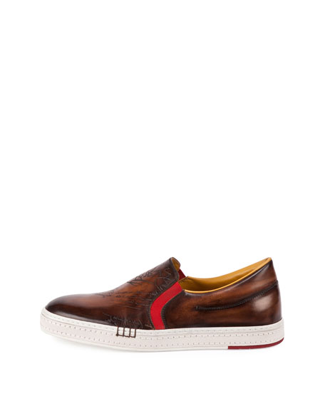 Scritto Burnished Leather Skate Sneaker, Tobacco